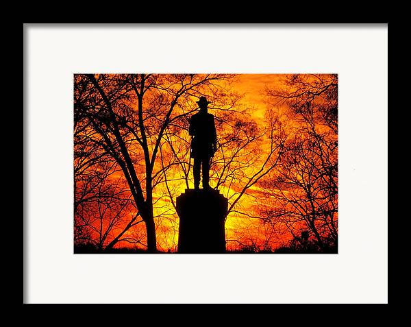 Civil War Framed Print featuring the photograph Sky Fire - Flames Of Battle 50th Pennsylvania Volunteer Infantry-a1 Sunset Antietam by Michael Mazaika