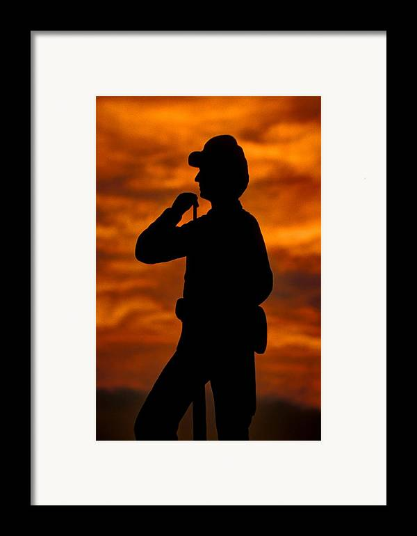 Civil War Framed Print featuring the photograph Sky Fire - Flames Of Battle 7th Pennsylvania Reserve Volunteer Infantry-a1 Sunset Antietam by Michael Mazaika