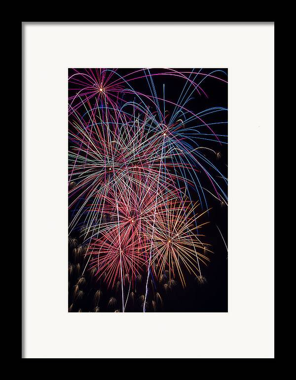Fireworks Lights Up The Darkness Framed Print featuring the photograph Sky Full Of Fireworks by Garry Gay