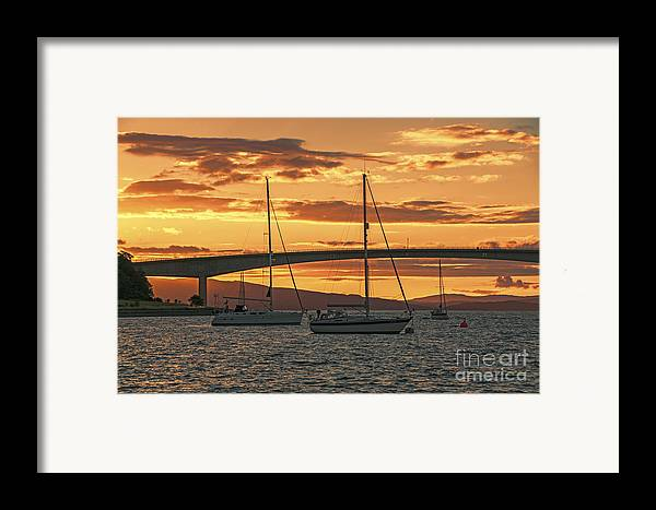 Isle Of Skye Canvas Framed Print featuring the photograph Skye Bridge Sunset by Chris Thaxter