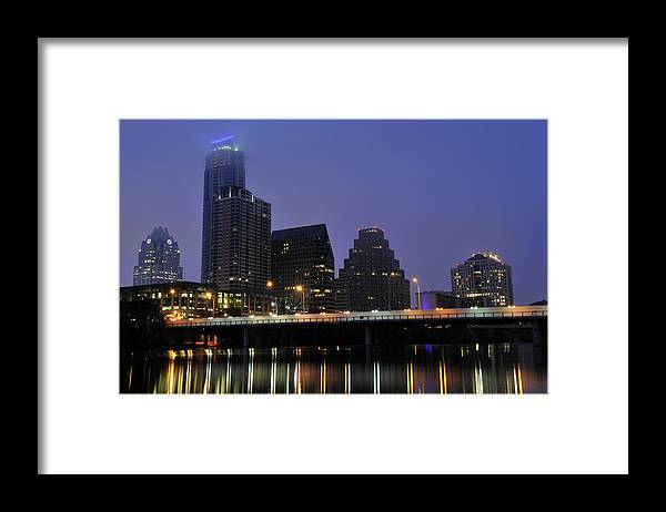 Color Image Framed Print featuring the photograph Skyline And Bridge In Austin by Aimintang