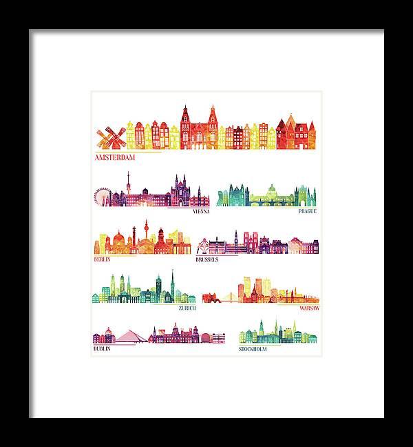 Dublin Framed Print featuring the digital art Skyline Detailed Silhouette Set by Katerina andronchik