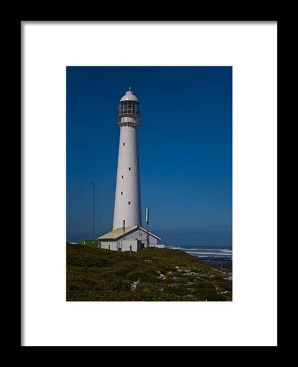 Art Original Framed Print featuring the photograph Slangkop Lighthouse by Tom Hudson