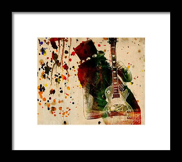 Rock N Roll Framed Print featuring the painting Slash - Watercolor Print from Original by Ryan Rock Artist