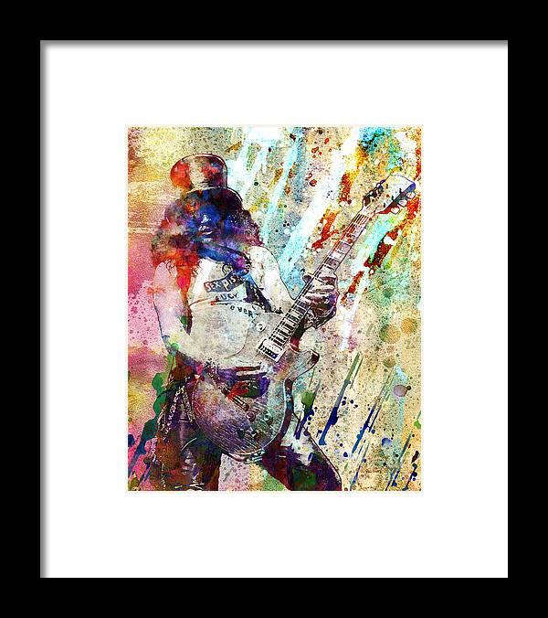 Rock N Roll Framed Print featuring the painting Slash Original by Ryan Rock Artist