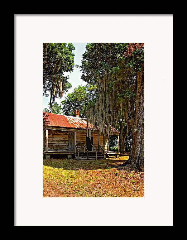 Evergreen Plantation Framed Print featuring the photograph Slave Quarters by Steve Harrington