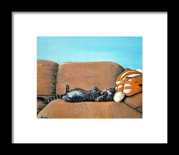 Calm Framed Print featuring the painting Sleeping Cat by Anastasiya Malakhova