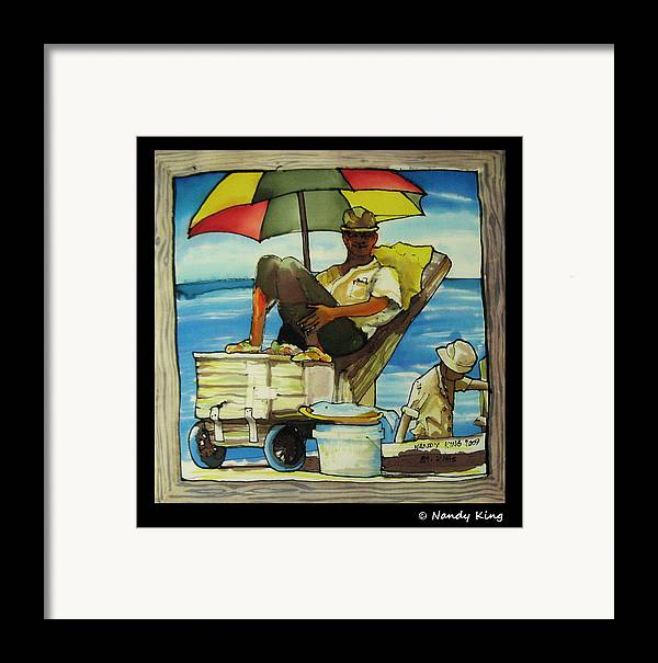 Portrait Framed Print featuring the painting Sleepy Fisherman by Nandy King