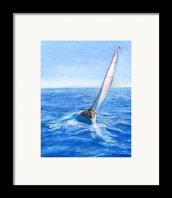 Sailboat Framed Print featuring the painting Slip Away by Jack Skinner