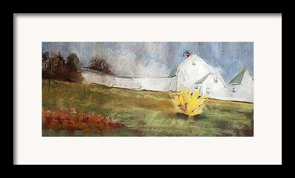 Maine Landscape Framed Print featuring the pastel Slowly Comes Spring by Grace Keown