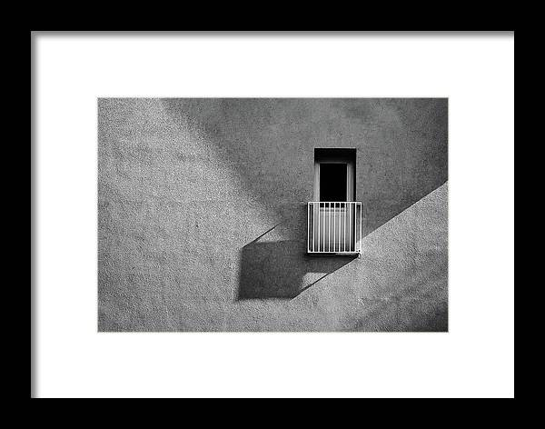 Abstract Framed Print featuring the photograph Small Balcony And Its Shadow by Inge Schuster