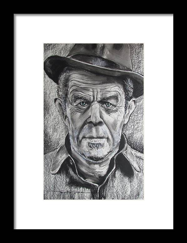 Tom Waits Framed Print featuring the drawing Small Change for Tom Waits by Eric Dee
