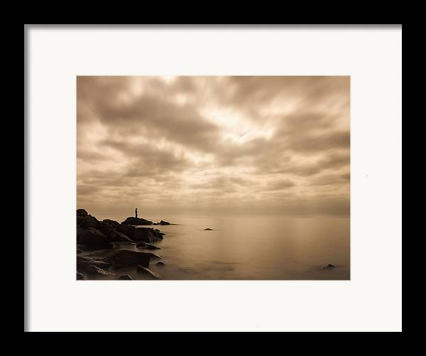 lake Superior great Lake human Element small.. Me Framed Print featuring the photograph Small... by Mary Amerman