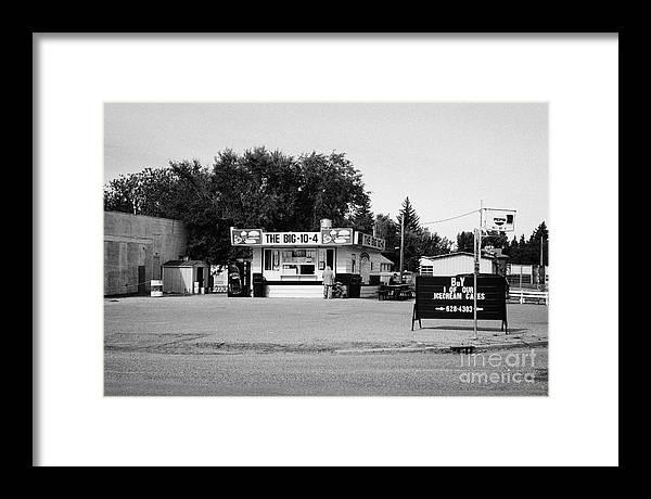 Small Framed Print featuring the photograph small roadside diner leader Saskatchewan Canada by Joe Fox
