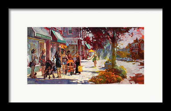 Landscape Framed Print featuring the painting Small Talk In Elmwood Ave by Ylli Haruni
