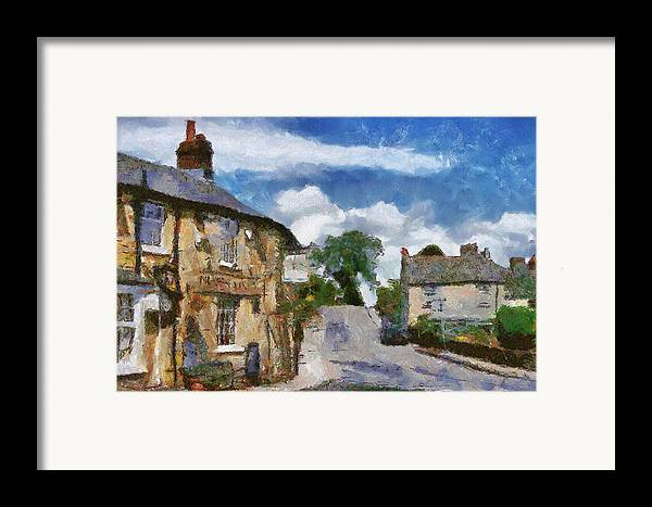 Street Framed Print featuring the painting Small Town Street by Ayse Deniz