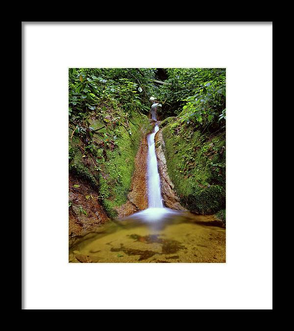 South America Framed Print featuring the photograph Small Waterfall In Tropical Rain Forest by Fstoplight