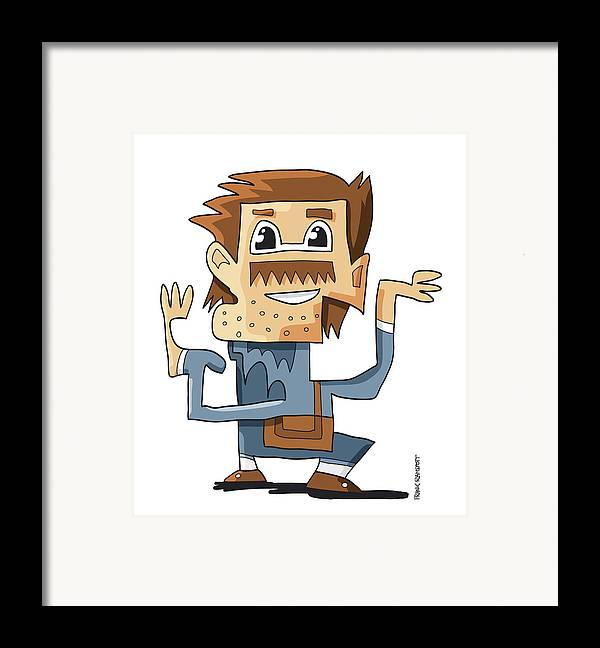 Frank Ramspott Framed Print featuring the digital art Smart Guy Doodle Character by Frank Ramspott