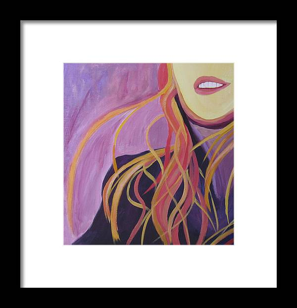 Portrait Framed Print featuring the painting Smile by Ingrid Torjesen