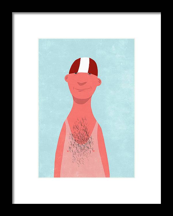 People Framed Print featuring the digital art Smiling Man With Sunburned Standing by Malte Mueller