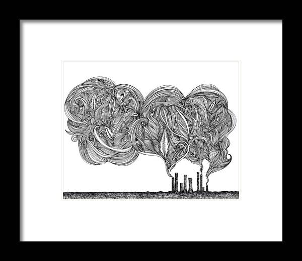 Smoke Framed Print featuring the drawing Smoke by Jody Pham