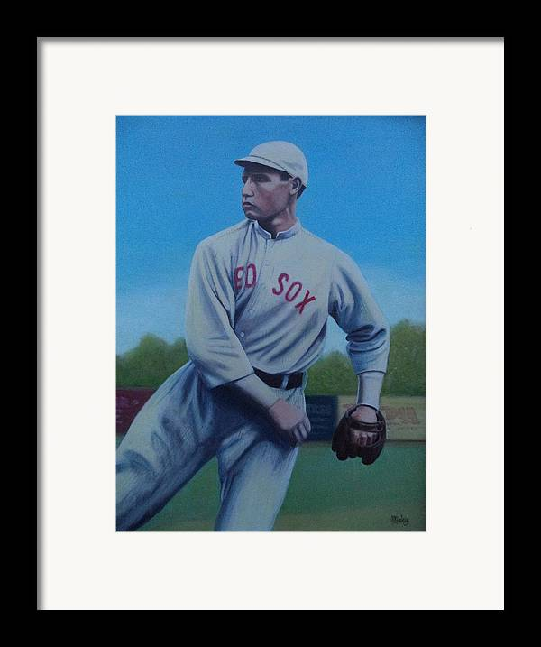 Red Sox Framed Print featuring the painting Smokey Joe Wood by Mark Haley