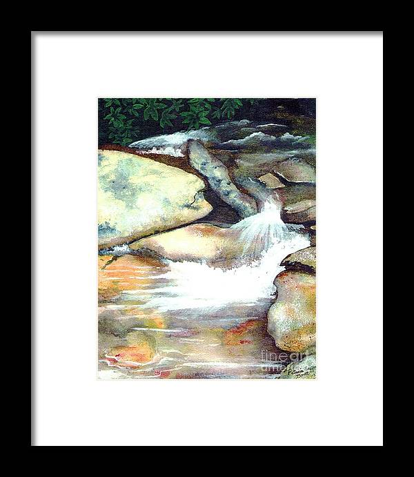 Fine Art Framed Print featuring the painting Smoky Mountains Waterfall by Patricia Griffin Brett