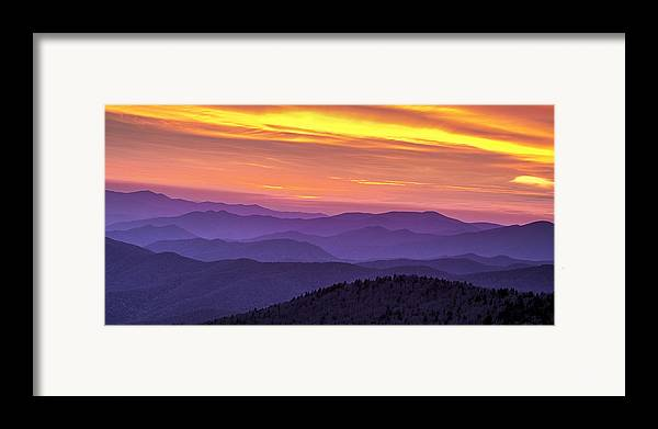 Smokies Framed Print featuring the photograph Smoky Sunset Panorama by Andrew Soundarajan