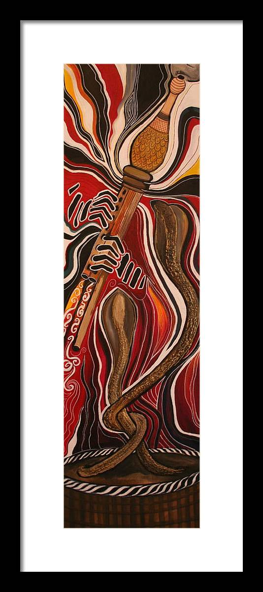 Snake Framed Print featuring the painting Snake Charmer by Kate Fortin