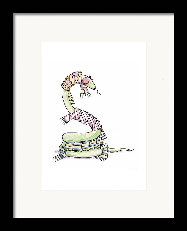 Snake Framed Print featuring the painting Snake Wearing A Scarf by Christy Beckwith