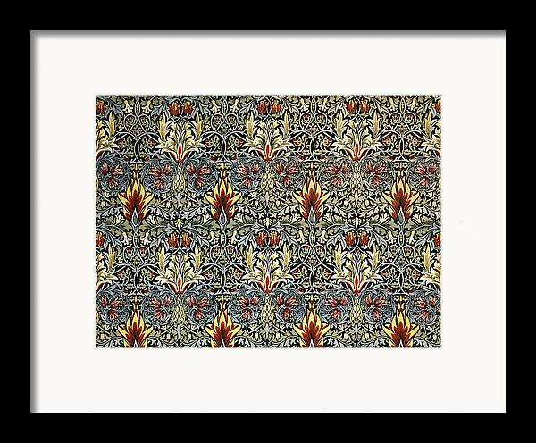 William Framed Print featuring the tapestry - textile Snakeshead by William Morris