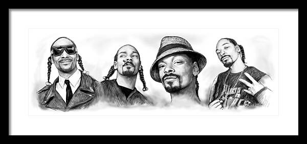 This Is Art Print For Snoop Dogg. Calvin Cordozar Broadus Framed Print featuring the drawing Snoop Dogg Group Art Drawing Sketch Poster 30x85cm by Kim Wang