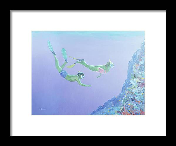 Snorkler Framed Print featuring the painting Snorklers by William Ireland