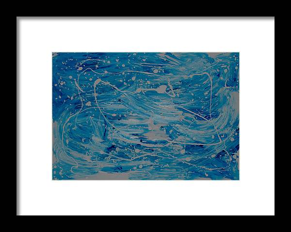 Blue Framed Print featuring the painting Snow And Water by Sirenes