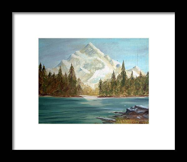 Mountain Framed Print featuring the painting Snow Covered Mountain by Judi Pence