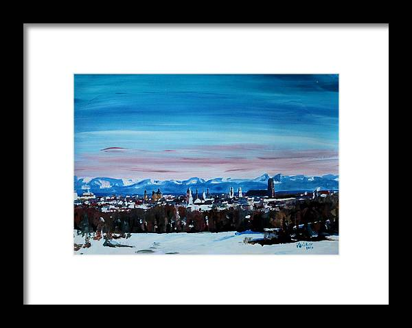 Winter Framed Print featuring the painting Snow Covered Munich Winter Panorama With Alps by M Bleichner