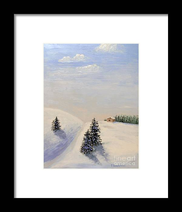 Snow Framed Print featuring the painting Snow-covered Valley by Tatyana Bondareva