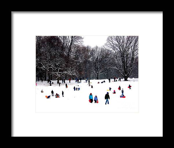Snow Day - Fun Day Framed Print featuring the photograph Snow Day - Fun Day by Dora Sofia Caputo Photographic Design and Fine Art