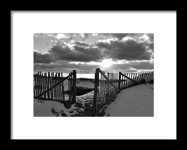 Landscape Framed Print featuring the photograph Snow Fence by Lisa Kane