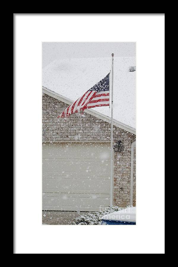 Flag Framed Print featuring the photograph Snow Flag by JoLen Confer