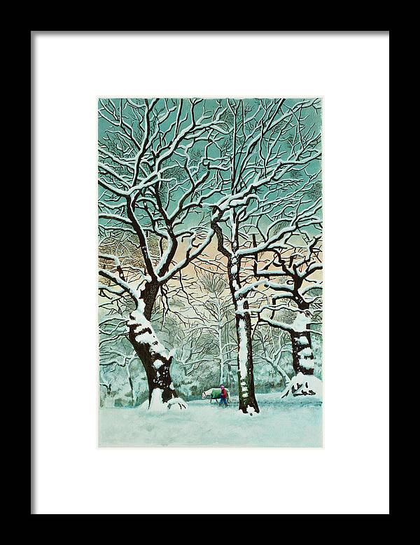 People Framed Print featuring the digital art Snow In Forest by Georgette Douwma