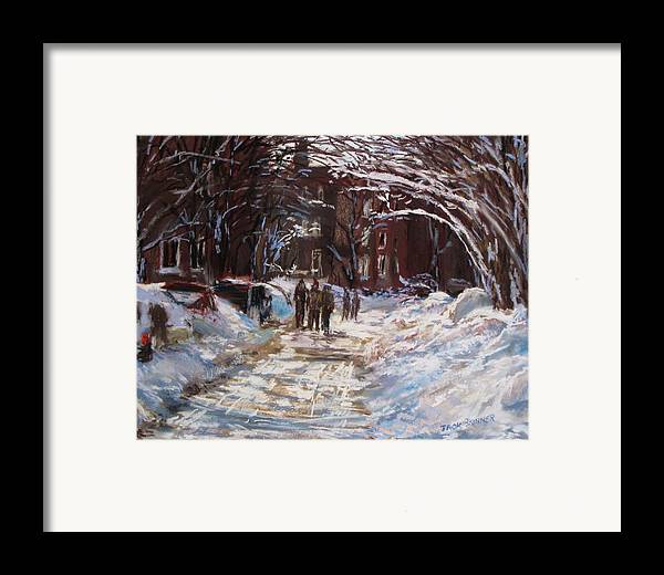Snow Framed Print featuring the painting Snow In The City by Jack Skinner