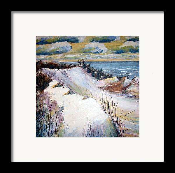 Snow Framed Print featuring the painting Snow On The Dunes by Art Nomad Sandra Hansen