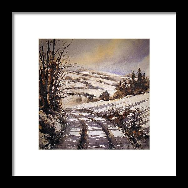 Landscape Framed Print featuring the painting Snow Path by Roland Byrne