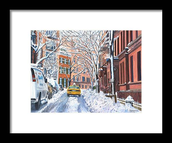 Snow Framed Print featuring the painting Snow West Village New York City by Anthony Butera