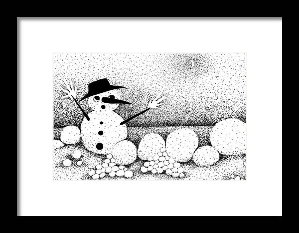 Designs Framed Print featuring the drawing Snowball Fight by Joy Bradley