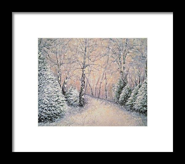 Snow Landscape Framed Print featuring the painting Snowflakes by Natalie Holland