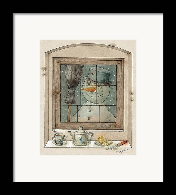 Snowman Winter Tea Breakfast Christmas Holiday Framed Print featuring the painting Snowman by Kestutis Kasparavicius