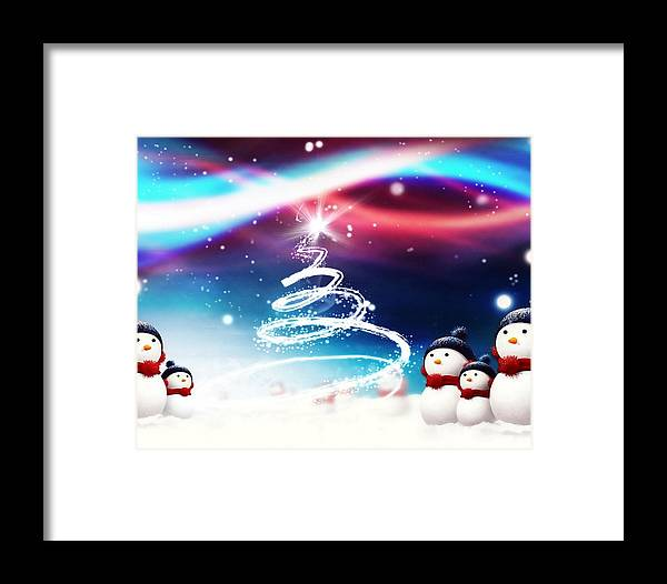 Spark Framed Print featuring the painting Snowman New Year by Tian Chen