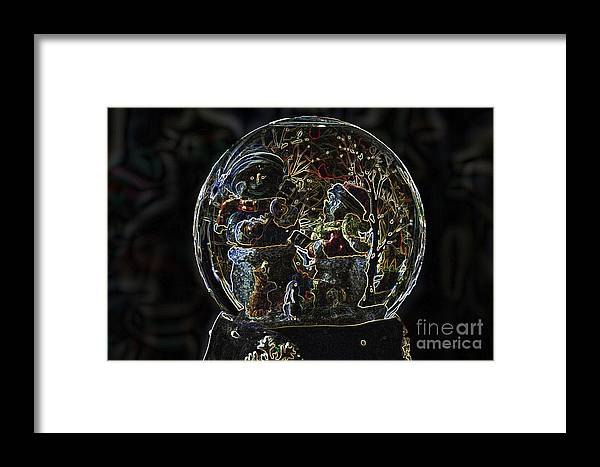 Snowmen Framed Print featuring the photograph Snowmen Neon Water Globe by Thomas Woolworth